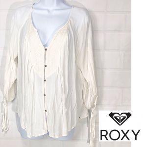 Roxy Embellished Boho Cream V Neck Button Up SM